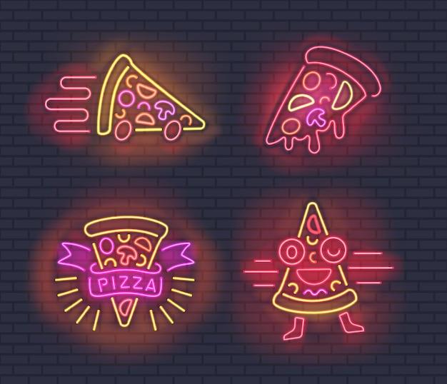 Неоновые кусочки пиццы для дизайна пиццерий на кирпичной стене Premium векторы