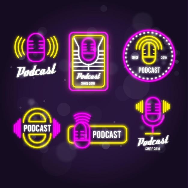 Collezione di logo podcast al neon Vettore gratuito