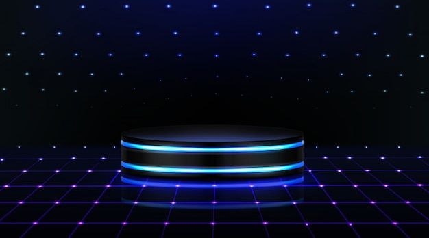 Neon Podium Empty Stage In Nightclub Dance Floor Free Vector