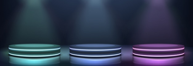 Neon podiums glowing in darkness realistic vector Free Vector