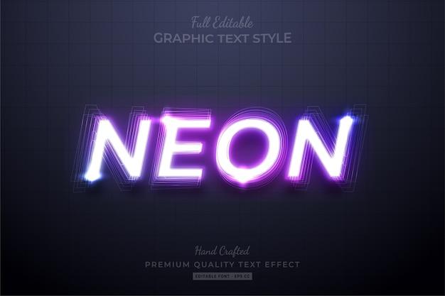 Неоновый фиолетовый редактируемый эффект стиля текста eps премиум Premium векторы
