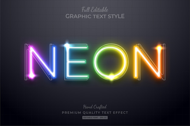 Neon rainbow editable text effect font style Premium Vector