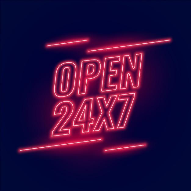 Insegna rosso neon per orari di apertura 24 ore su 24, 7 giorni su 7 Vettore gratuito