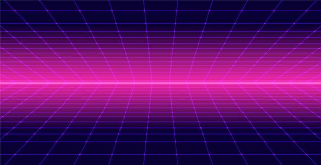 Neon Retro 3d Background Landscape 80s Premium Vector