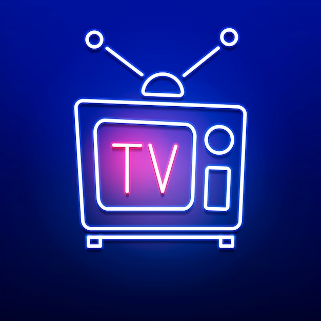 Neon retro tv logo with red blue color on smooth wall . Premium Vector