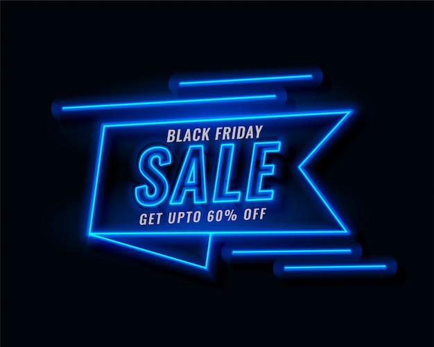 Neon ribbon banner black friday sale Free Vector