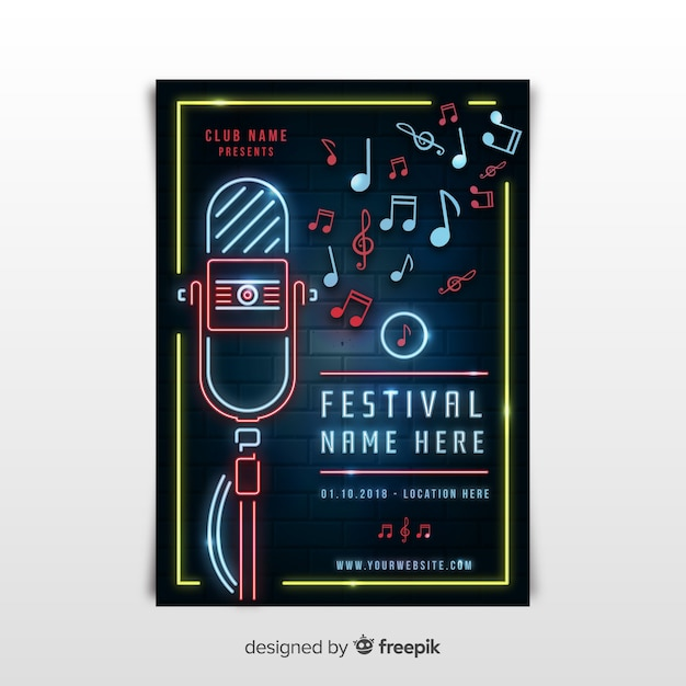 Neon rock and rock poster Free Vector