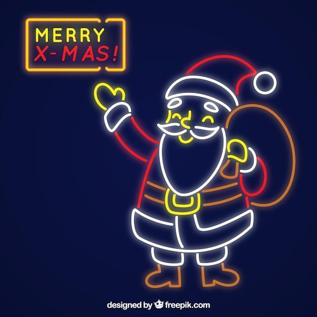 Neon santa claus