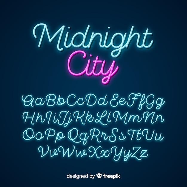 Neon script alphabet Free Vector