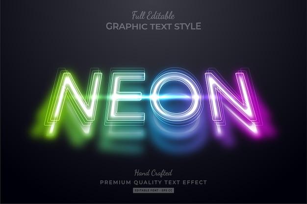 Neon shadow editable premium text style effect Premium Vector