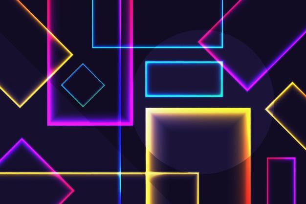 Forme al neon su sfondo scuro Vettore gratuito