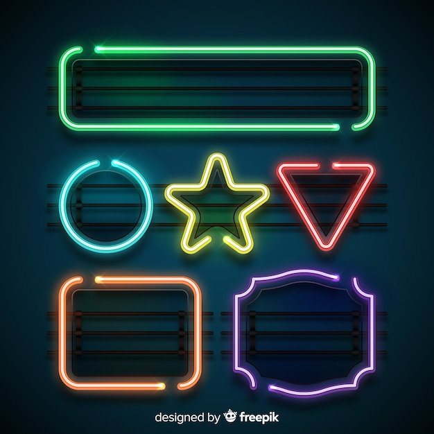 Neon shapes set Free Vector