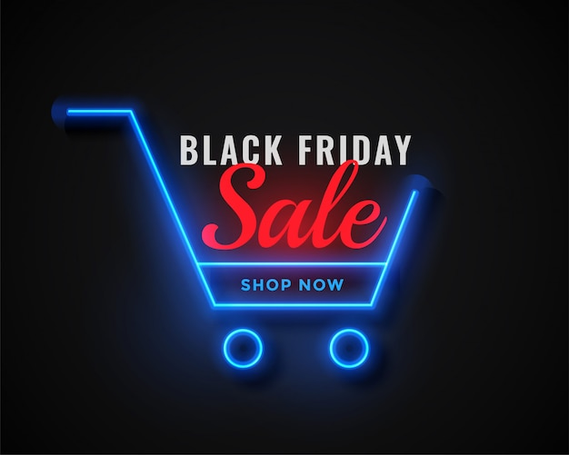 Neon shopping cart black friday sale Free Vector