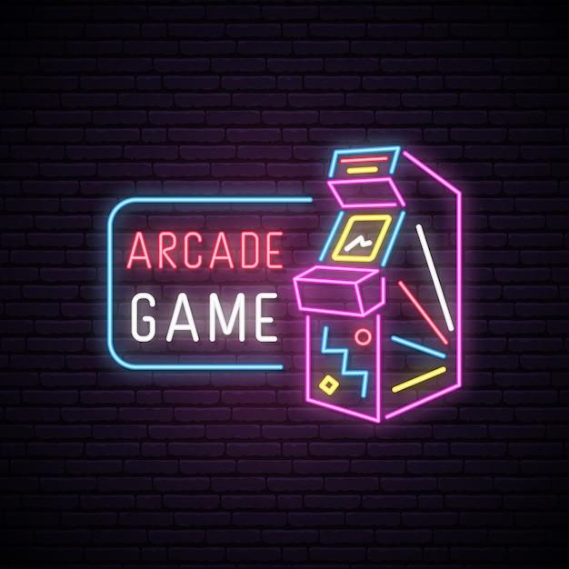 Neon sign of arcade game machine. Premium Vector