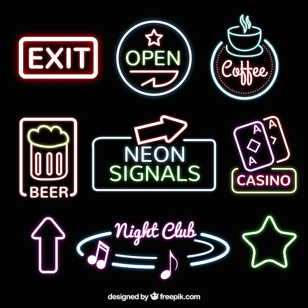 Neon sign collection Free Vector