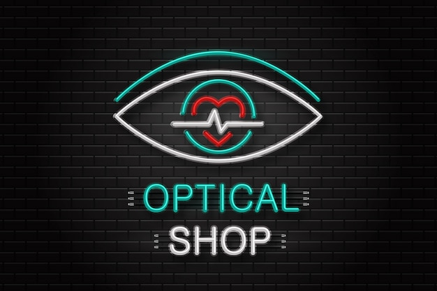 Neon sign of eye for decoration on the wall background. realistic neon logo for optical shop. concept of optical clinic, ophthalmology and eye care. Premium Vector