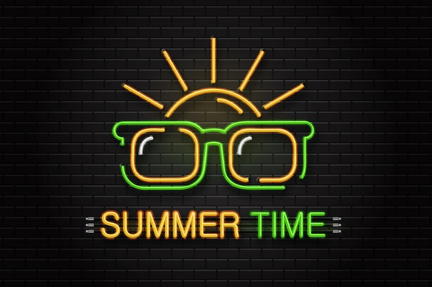 Neon sign of glasses and sun for decoration on the wall background. realistic neon logo for summer time. concept of happy vacation and leisure. Premium Vector
