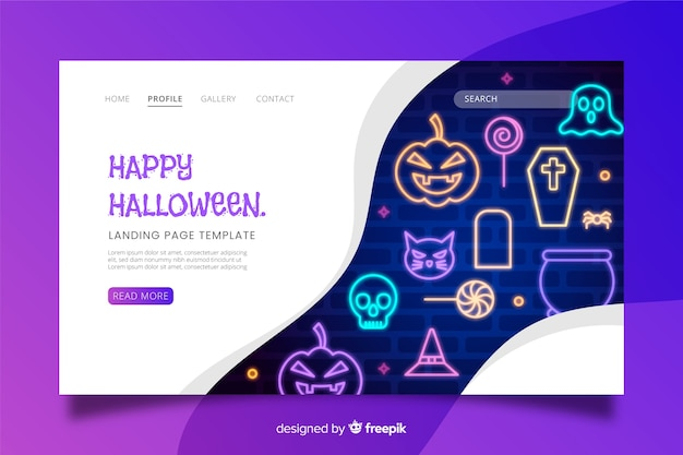 Neon sign halloween landing page Free Vector