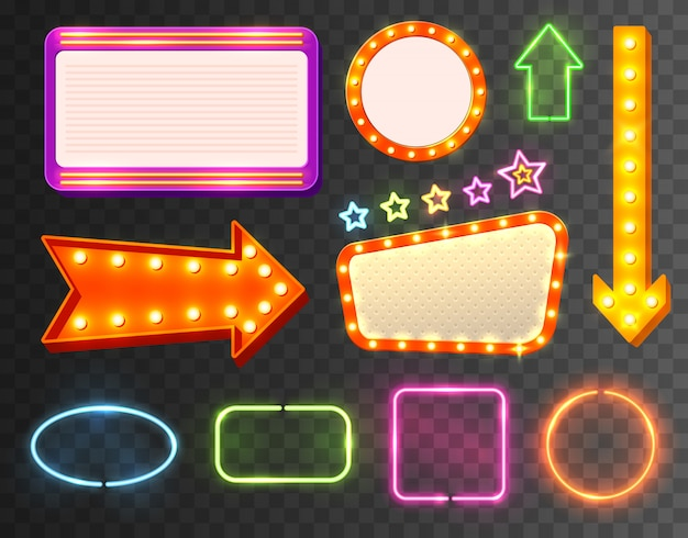 Neon sign icon set Free Vector