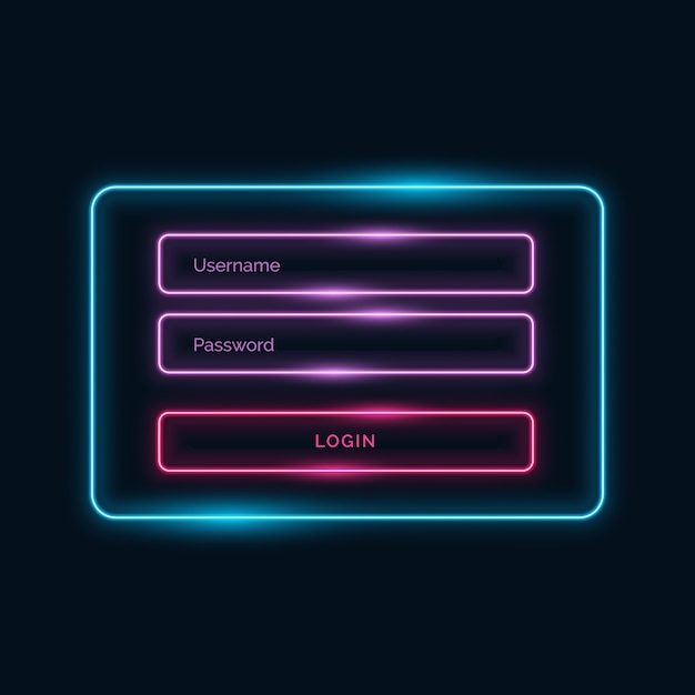 Neon sign in template Free Vector