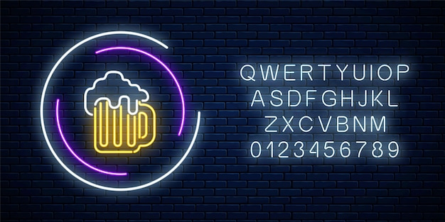 Neon sign of mug of beer in circle frames with alphabet on a dark brick wall background. luminous advertising signboard. pub or bar design Premium Vector