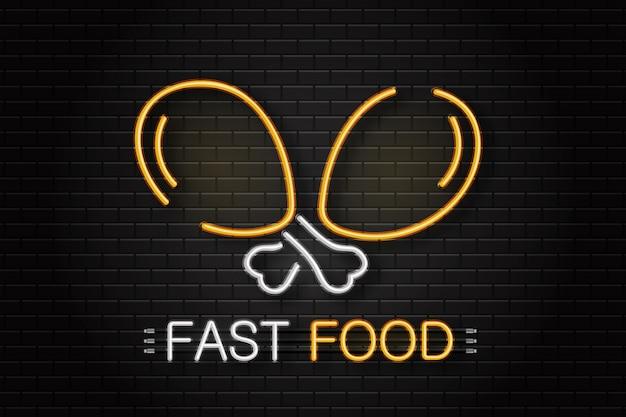 Неоновая вывеска курицы для украшения на фоне стены. реалистичная неоновая вывеска с логотипом для фаст-фуда. концепция кафе или ресторана. Premium векторы