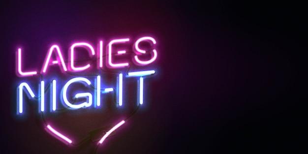 Неоновая вывеска ladies night с копией пространства Premium векторы