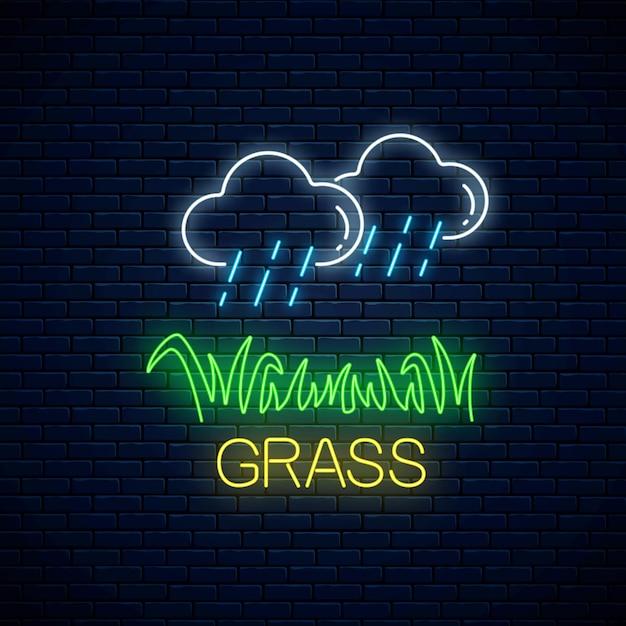 雨が降っている雲のネオンサインと暗いレンガの壁の草のプロット Premiumベクター