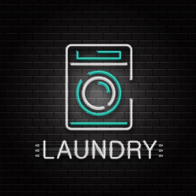 壁の背景に装飾用洗濯機のネオンサイン。ランドリー用のリアルなネオンのロゴ。ハウスキーピングとクリーニングサービスの概念。 Premiumベクター
