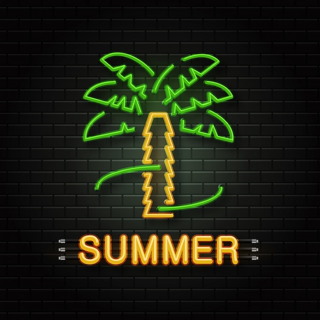 Neon sign of tropical palm for decoration on the wall background. realistic neon logo for summer time. concept of happy vacation and leisure. Premium Vector