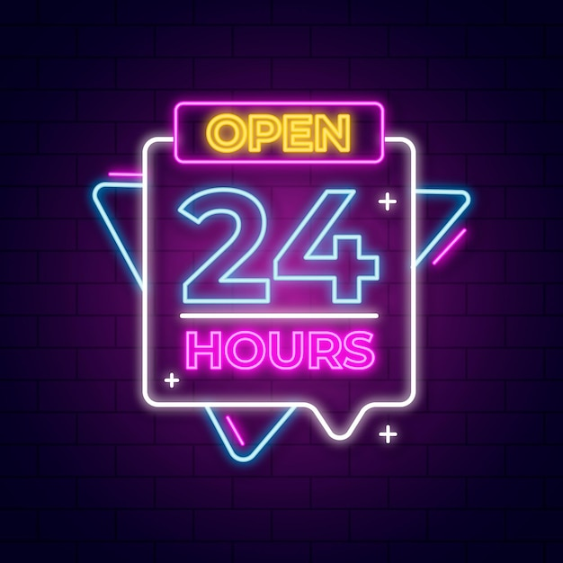 Neon sign with open 24 hours Free Vector