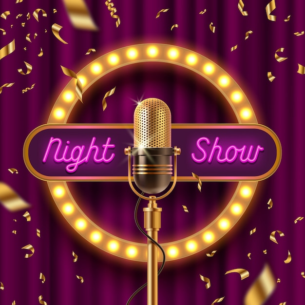 Neon signboard, fame with light bulbs and retro microphone on stage gainst the purple curtain and falling golden confetti. Premium Vector