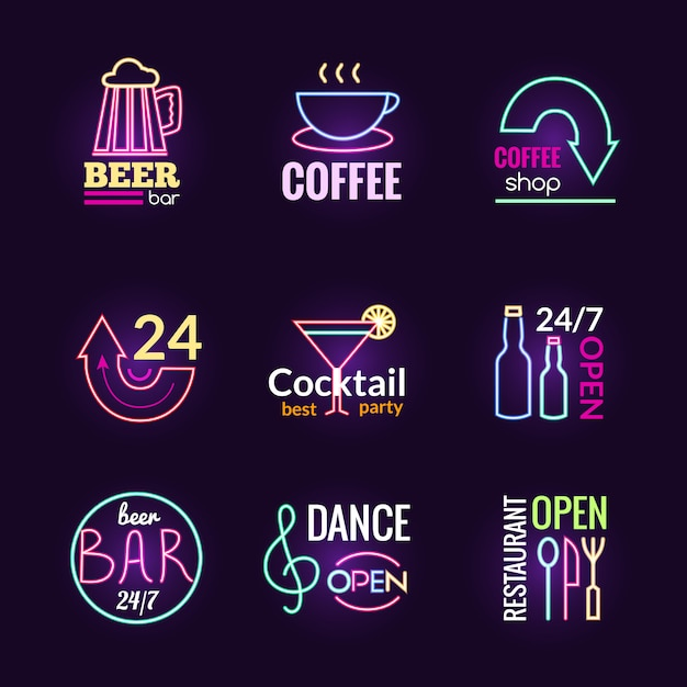 Neon signs set Free Vector