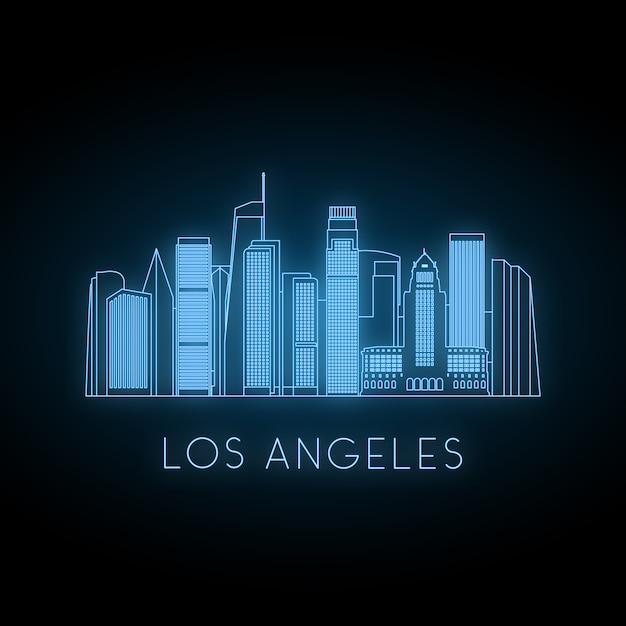 Neon silhouette of los angeles city. Premium Vector