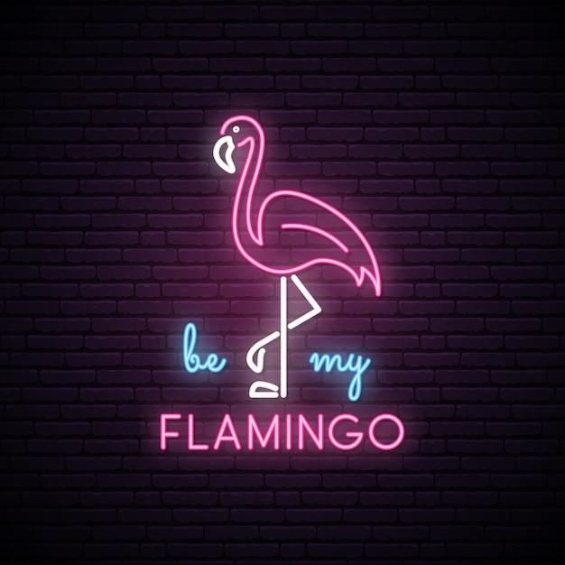Neon silhouette of pink flamingo. Premium Vector