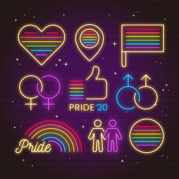 Neon sings design pride day event Free Vector