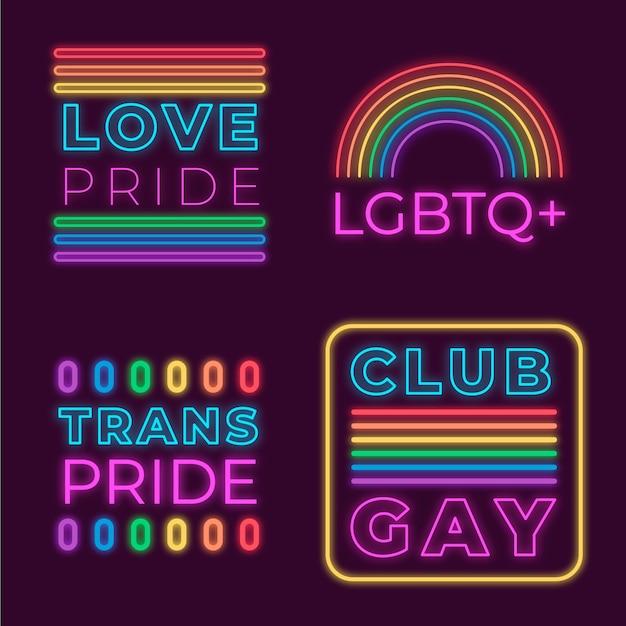 Neon sings design pride day Free Vector