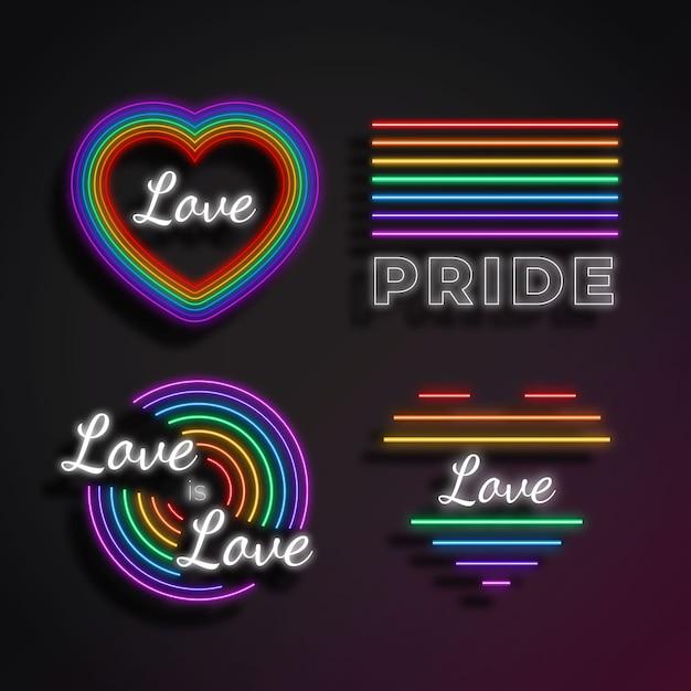 Neon sings pride day celebration Free Vector