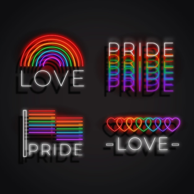 Neon sings pride day event Free Vector