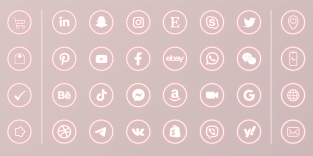 Neon social media round glowing icons set on pink background Premium Vector