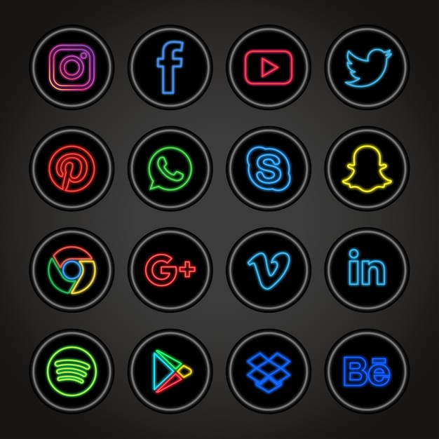 Neon social networks collection Premium Vector
