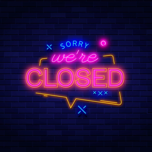 Neonsorry, we're closed sign Free Vector