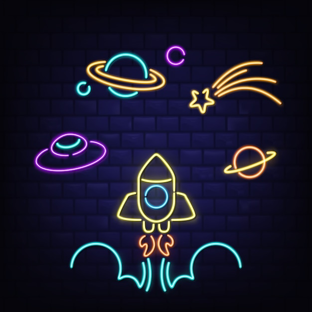 Neon space icons set, rocket, ufo, saturn planet and comet signs Free Vector