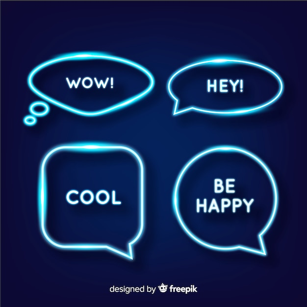Neon speech bubbles with expressions Premium Vector