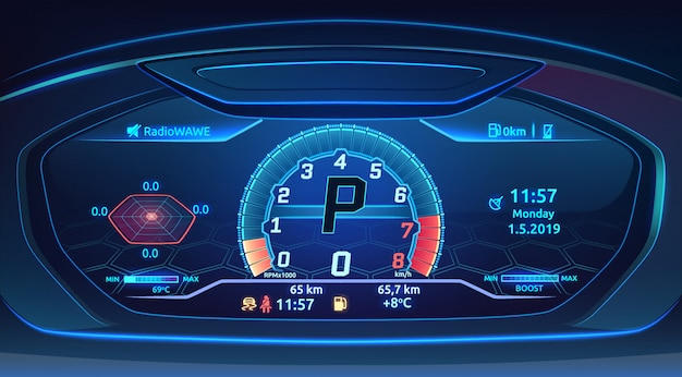 Neon sport car supercar dashboard with speedometer, modern automobile control panel ,  illustration Premium Vector