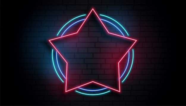 Neon star empty frame background Free Vector