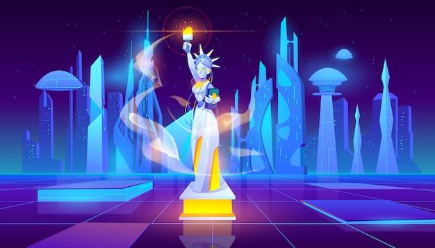 Neon futuristico statua della libertà sullo sfondo Vettore gratuito