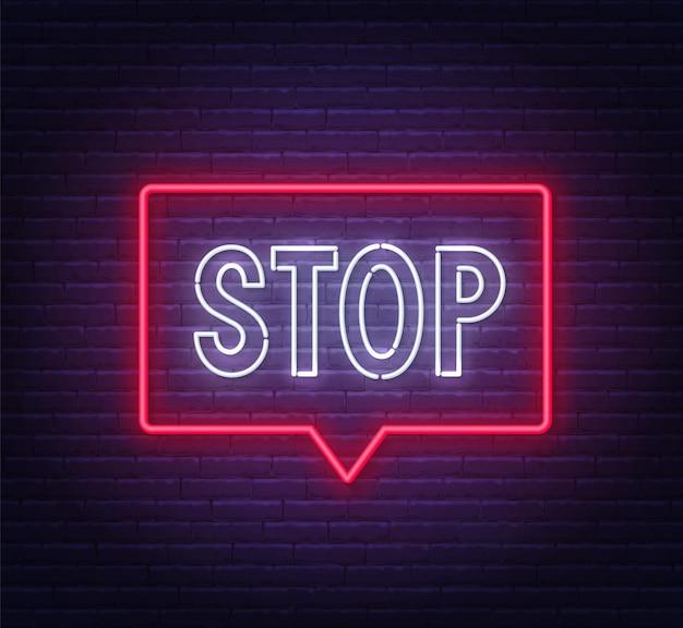 レンガの壁の背景図のフレームにネオン一時停止の標識 Premiumベクター