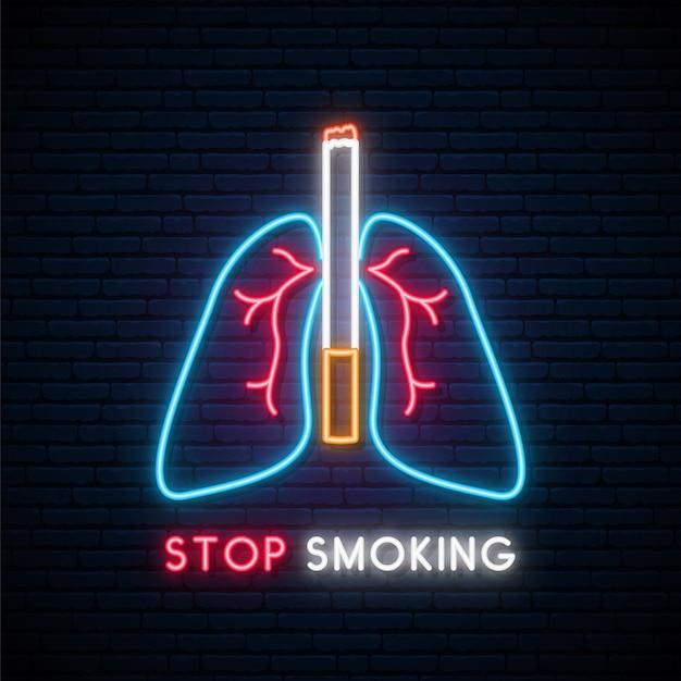 Неон бросить курить вывеску. Premium векторы