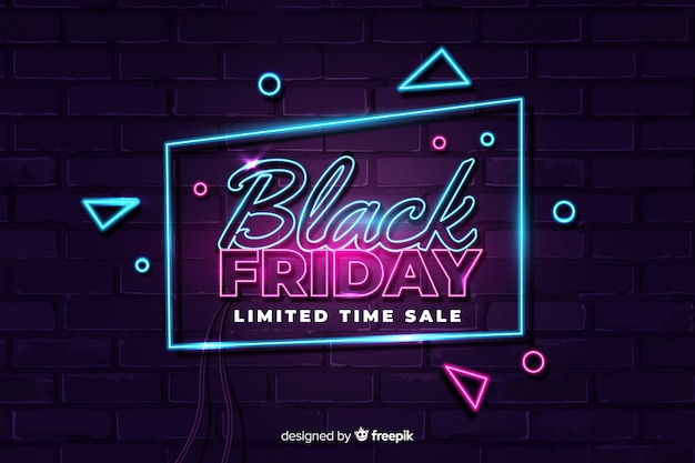 Neon style black friday limited time sale Free Vector